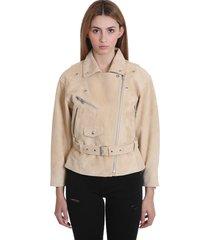 iro tigao leather jacket in beige suede