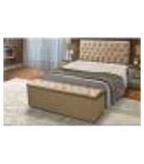 cabeceira e calçadeira baú solteiro 90cm para cama box sofia suede bege - ds móveis