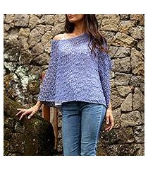 crocheted poncho, 'periwinkle sanur shade' (indonesia)