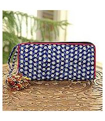 batik cotton wallet, 'blue kaleidoscope' (india)