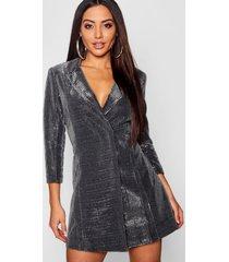 metallic blazer jurk, zilver