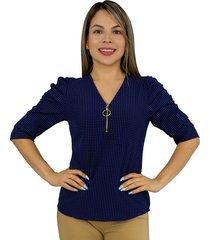 elvira burgos - blusa para dama elegante de moda en chalis poliéster - ref 77172359 – azul