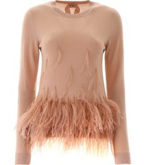 n.21 pullover with feathers