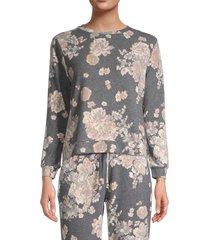 saks fifth avenue women's floral top - black - size l