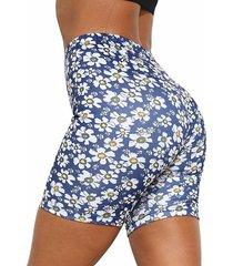 shorts de tiro alto súper elásticos con estampado floral