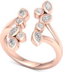 diamond bezel cuff statement ring (1/2 ct. t.w.) in 14k rose gold