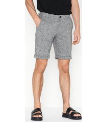 selected homme slhstraight-paris linen shorts w shorts svart
