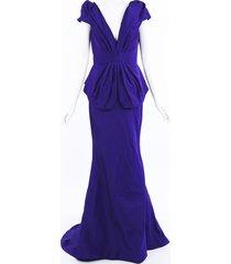 oscar de la renta purple silk peplum gown purple sz: l