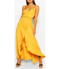 maxi jurk met ceintuur, franjes en langere achter zoom, geel