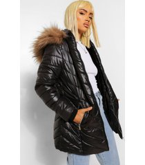 high shine faux fur trim longline puffer coat, black