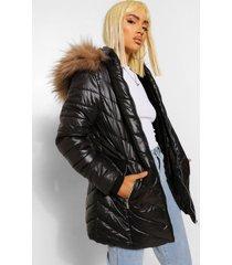 glanzende lange gewatteerde jas met faux fur zoom, black