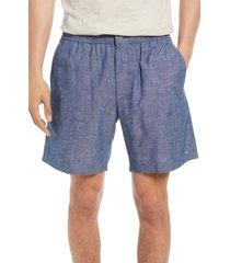 men's rag & bone eaton chambray shorts, size medium - blue