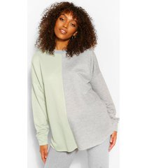 zwangerschaps colour block sweater, grey