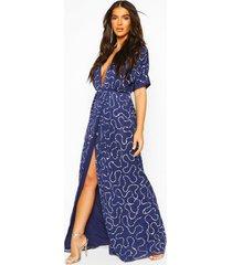 boutique sequin plunge maxi dress, navy