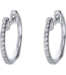 orecchini a cerchio in oro bianco con diamanti 0,07 ct per donna