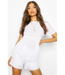 broderie smock top, white
