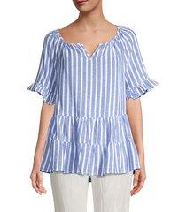 beach lunch lounge women's akia linen-blend striped top - blue - size m