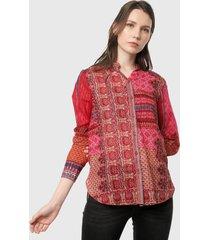 camisa rojo-multicolor desigual