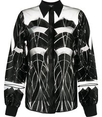alberta ferretti geometric sheer-panelled shirt - black