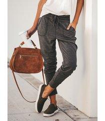 pantaloni delle donne casuali allentati in tinta unita con coulisse in vita