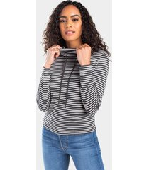 corah stripe funnel neck top - charcoal