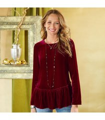 velvet long sleeve top with ruffle