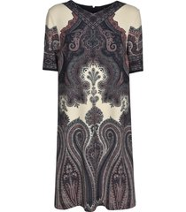 etro rear zip v-neck printed dress