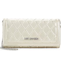 metallic quilted wallet on chain