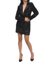 women's good american sequin long sleeve blazer minidress, size 2 - black