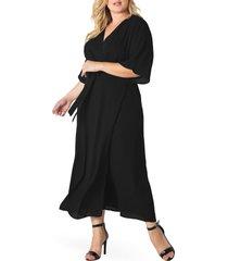 plus size women's standards & practices short sleeve wrap maxi dress