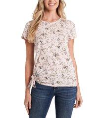 cece wildflower meadow tie-hem t-shirt
