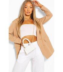 oversized covered button blazer, beige