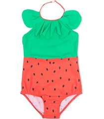 mini rodini strawberry-print halterneck swimsuit - red