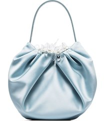 simone rocha embellished pleated silk clutch bag - dusty blue/clear