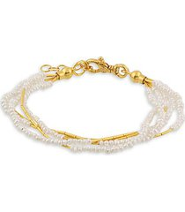 24k yellow gold & 2-3mm freshwater pearl beaded bracelet