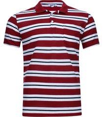 polo m/c a rayas con bolsillo color rojo, talla s