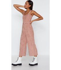 womens who do you pink you're kidding corduroy jumpsuit - rose