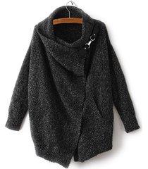 cappotti a maniche lunghe con risvolto irregolare di colore puro casual per le donne