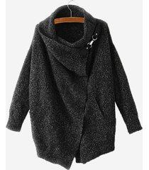 cappotti casual a manica lunga con risvolto in puro colore irregolare per donna