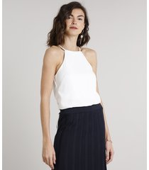 body feminino halter neck alças finas off white
