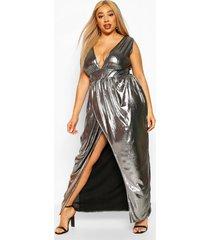 plus metallic plunge wrap maxi dress, silver