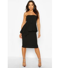 bandeau belted peplum midi dress, black