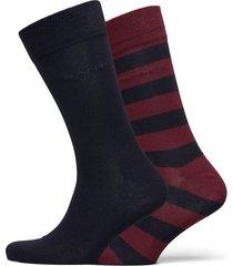 2-pack barstripe and solid socks underwear socks regular socks röd gant