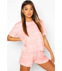woman script top & short pyjama set, blush