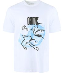 white and light blue cotton crewneck t-shirt