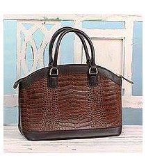leather handle handbag, 'chestnut majesty' (india)
