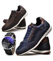 kit 02 pares de sapatênis sapato casual com relógio juilli 1100l azul e marrom.