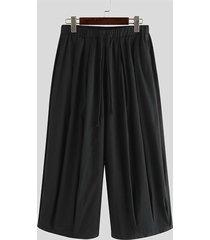 incerun pantalones harem de corte holgado con cintura elástica y pierna ancha para hombre