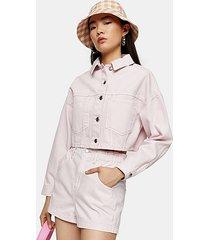 considered high waist pink denim paperbag shorts - pink