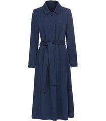 mantel van tencel™ vezels in a-lijn met bindceintuur en omslagkraag, blauw 34